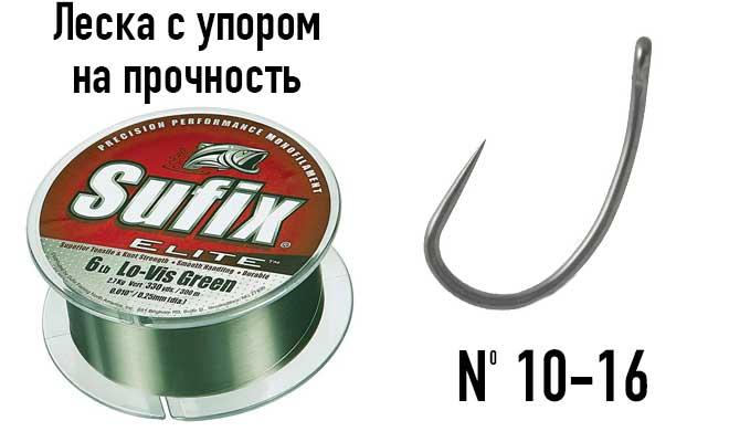 Леска и крючки для ловли на кольцо